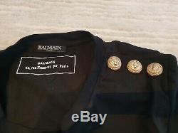 New authentic Balmain black long sleeve top tshirt gold logo 34 36 6 8 10 XS S