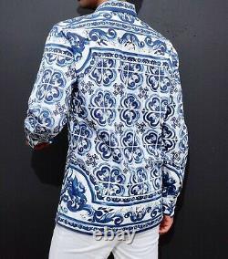 New sz 15 / 40 Dolce&Gabbana Maiolica print shirt shorts 50 suit blue white top