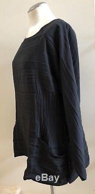 New without Tags BABETTE Long Sleeve Pleated Top in Black, Size Large