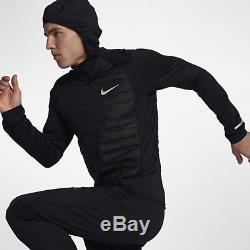 Nike AEROLOFT MEN'S LONG-SLEEVE RUNNING TOP Black/Metallic Silver-S, M, L, XL Or2XL