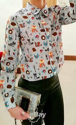 Novelty Fox Grey Designer Evening Long Sleeved Top Shirt Office Career Blouse 14