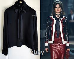Nwt $1700 16a Rome Chanel Black Satin Silk CC Pearl Buttons Blouse Top Shirt 36