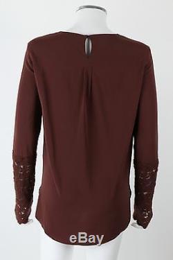 Nwt Brunello Cucinelli Brown Parachute Silk Cashmere Lace Long Sleeve Top Blouse
