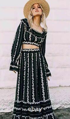 Nwt Free People Lolita Top & Skirt Printed Set L Large Sfs