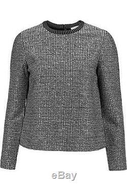 Nwt Tory Burch Sz S Raffia Shortbread Long Sleeve Pullover Zip Back Top Sweater
