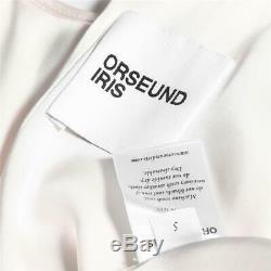 ORSEUND IRIS White Cream Cropped Long Sleeve Raw Edge Hem Top Blouse Shirt S