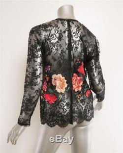 OSCAR DE LA RENTA Black Lace Sheer Floral Embroidered Long Sleeve Top Blouse M