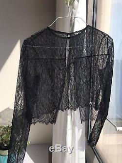 Oscar De La Renta Black Lace Long Sleeves Crop Top Blouse Size S