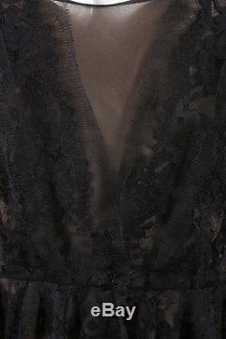 Oscar de la Renta NWT $1790 Black Floral Mesh Lace Long Sleeve Peplum Top SZ 4
