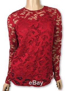 Oscar de la Renta New Red Sz 2 Lace Long Sleeve Top Blouse MSRP $1590