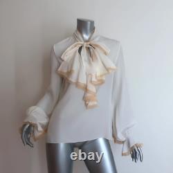 Oscar de la Renta Ruffle Blouse Cream Silk Size 4 Long Sleeve Tie Neck Top
