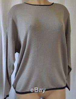 PAULE KA Blouse/Top Knit Moss with Black Trim Size Long Sleeves Size Large