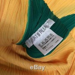 PLEATS PLEASE ISSEY MIYAKE Pleated Long Sleeve Top Yellow Zipper Size 3