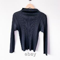 PLEATS PLEASE Issey Miyake black pleated mock neck long sleeve top women size 3