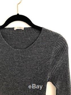 PRADA Dark Gray Ribbed Long Sleeve Sweater Dress Top 44 M L Silk Cashmere