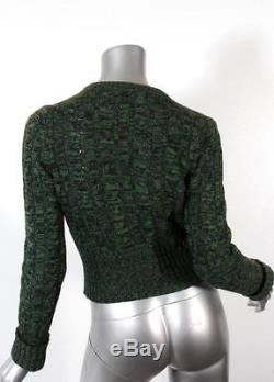 PRADA Womens Green Long Sleeve Cable Knit Cardigan Sweater Top 40