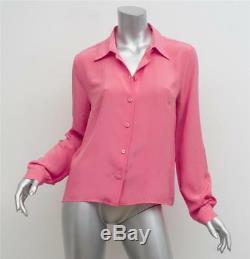 PRADA Womens Pink Silk Long Sleeve Button-Up Collared Blouse Top Shirt 8-44 NEW