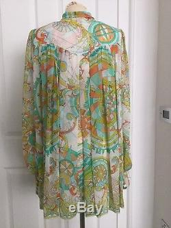 Pucci Print Long Sleeve 100% Silk Top/blouse/shirt Size 12 Worn Once