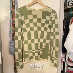 Paloma Wool El Valle top size medium in green and cream checkered print