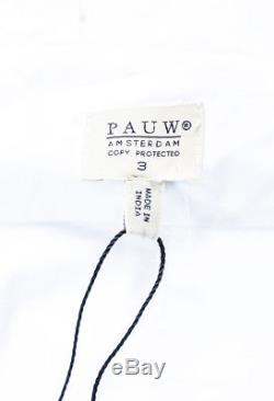 Pauw White Poplin Pleated Hem Button Down Long Sleeve Shirt Top SZ 3