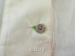 Pero Top Blouse Ivory Embroidered Voile Size 40 Neon-Stitched Long Sleeve NEW