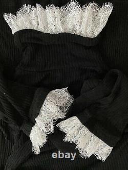 Philosophy di lorenzo serafini Black Ribbed Jersey turtleneck Top UK10 US6