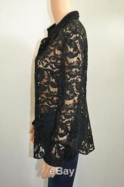 Prada Black Sheer Floral Lace Cotton Long Sleeve Blouse/Top Size 44