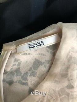 Prada Womens Size 4 Silk Dress Long Sleeve Cream Lace Top Black Bottom