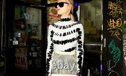 Proenza Schouler NEW Tie Dyed Stripe Stretchy Velvet Turtleneck Top M Blue Black