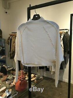 RACHEL COMEY NEW Bonito Ivory Pleat Pointelle Long Sleeve Mockneck Sweater Top S