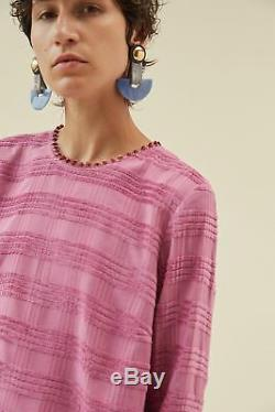 RACHEL COMEY Tambo Pink Fuzzy Pom Pom Trim Woven Long Sleeve Blouse Top 4/S
