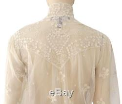 RALPH LAUREN COLLECTION Long Sleeve Ivory Beige Lace Button Blouse Top 12 NEW