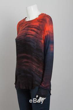 RAQUEL ALLEGRA Red Blue Purple Tie Dye Long Sleeve Knit Silk Blouse Top 0/XS