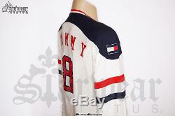 RARE Vintage 90s TOMMY HILFIGER White Red V Neck Longsleeve Shirt Sweater Top L