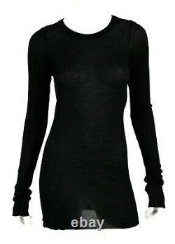RICK OWENS 2012 MOUNTAIN Black Thin Knit Long Sleeve Crewneck Top 44
