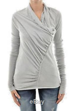 RICK OWENS Gathered Long Sleeve Top 38 IT 4 US Made in ITALY Incredibly-Soft