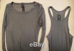 RICK OWENS Grey Tank Top + Long Sleeve Shirt Layering Set XS/S 2 piece