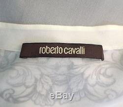 ROBERTO CAVALLI Women's Top Ivory Printed Silk Long Sleeve Blouse 42 US 6