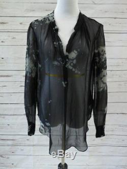 Raquel Allegra Top Blouse Black Tie Dye Chiffon Size 2 Long Sleeve Henley NEW