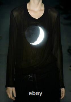 Rare! Ann Demeulemeester Fall 2003 Moon black sheer top size M