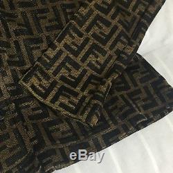 Rare Auth Fendi Vintage Zucca Print Long Sleeve FF Logo Monogram Tops