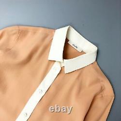 Rare Celine Ladies Two Tone Peach Pink Silk Blouse Shirt Top Size XS FR 34 US 2