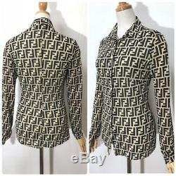 Rare Fendi Zucca Print Shirt Long Sleeve FF Logo Monogram Top Size IT42
