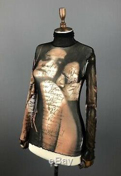 Rare JEAN PAUL GAULTIER Stop Racism Fight Racism Black Long Sleeve Mesh Top S/M