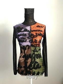 Rare Jean Paul Gaultier Op Art Face Embroidered Sheer Mesh Top High Neck Size L