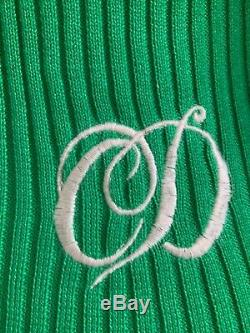 Rare Vintage Christian Dior Green Top Cold Shoulder Long Sleeve Rib Knit Top 38