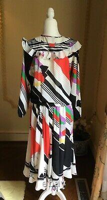 Rare Vintage Diane Fres/ Freis Georgette Ruffle Blouse Top Skirt Dress
