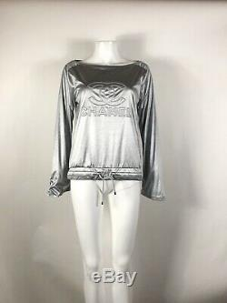 Rare Vtg Chanel Metallic Silver CC Logo Long Sleeve Top S