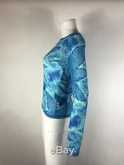 Rare Vtg JPG Jean Paul Gaultier Blue Long Sleeve Logo Top