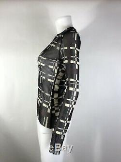 Rare Vtg Jean Paul Gaultier Black & White Sheer Long Sleeve Top S